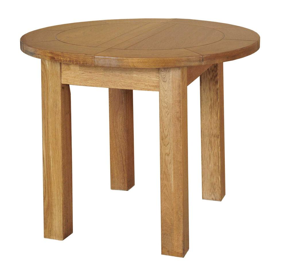 Fortune Woods Rustic Oak Round Extending Dining Table At Relax