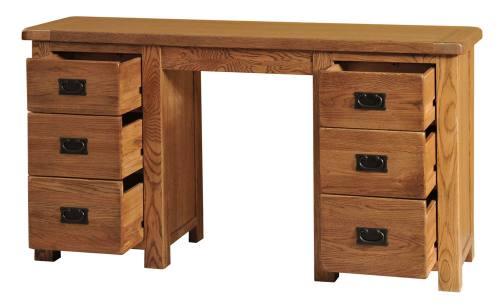 buy popular d62ec e4c04 Fortune Woods Rustic Double Pedestal Dressing Table