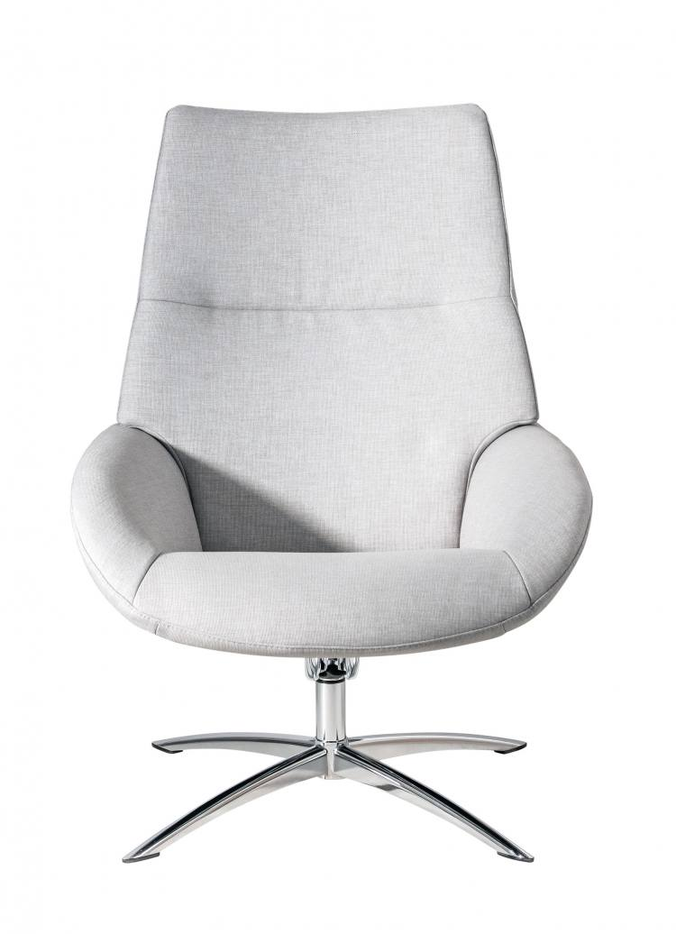 Kebe Lotus Swivel Chair in Lido Light Grey Front View