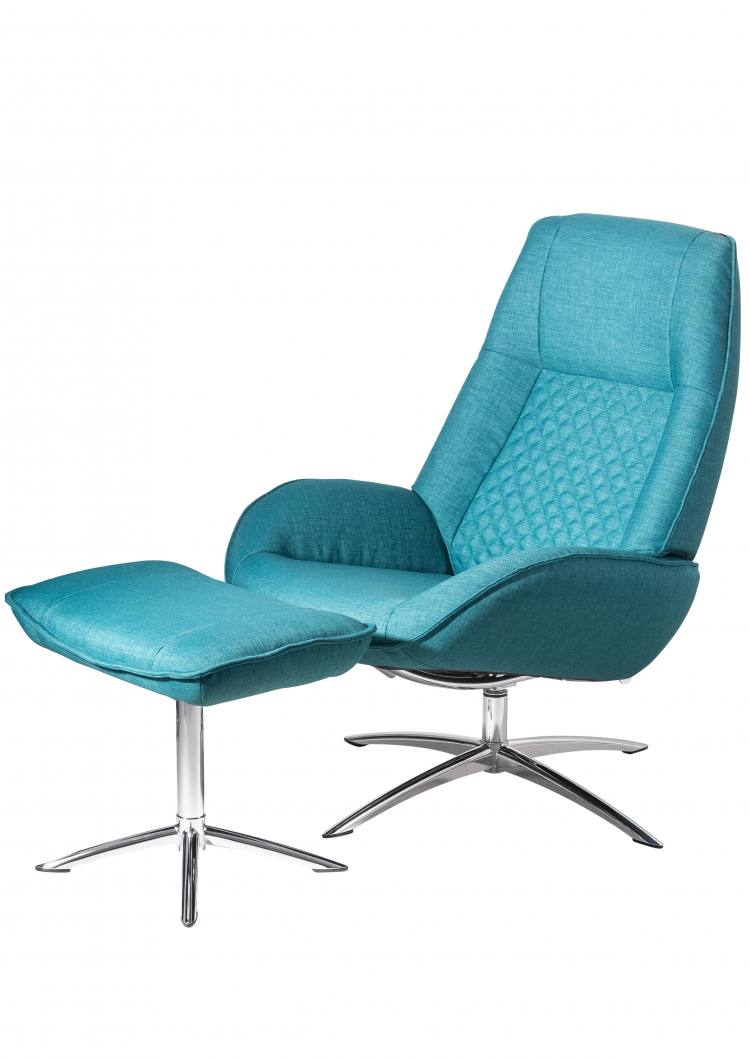 Kebe Bordeaux Swivel Chair in Lido Petrol Side View