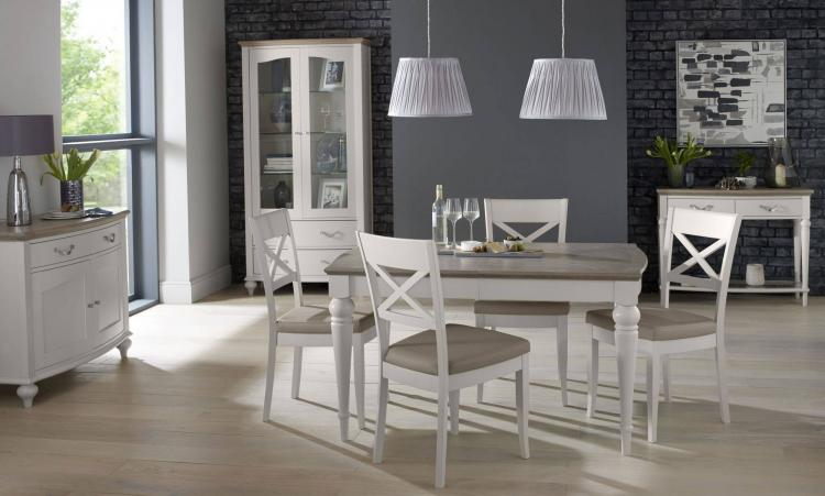 Bentley Designs Montreux Grey Washed Oak & Soft Grey 4-6 Extension Table with 6 Upholstered Chairs