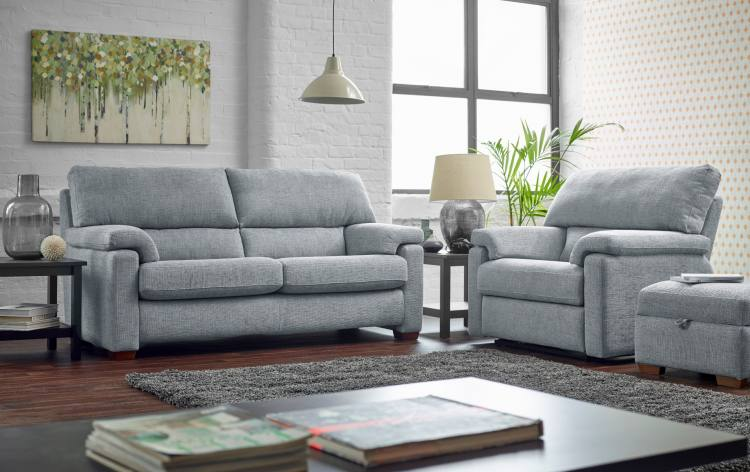 Ashwood Designs Steinbeck 2 Seater Sofa and Chair in Blue on Display