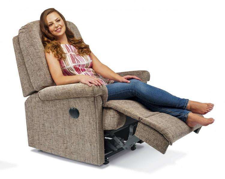 Power Recliner in Como Clay with Castor wheels option