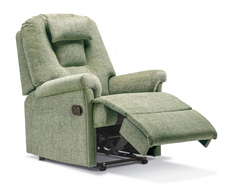 Recliner in Como Avocado with matching head cushion, manual catch option