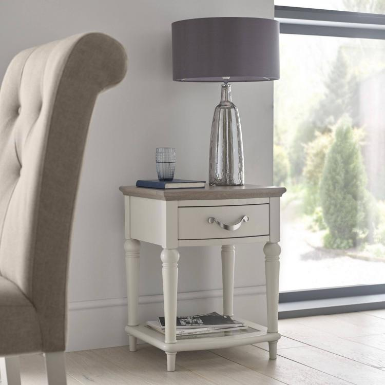 Bentley Designs Montreux Grey Washed Oak & Soft Grey Lamp Table