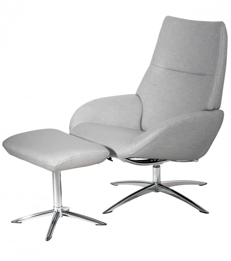Kebe Lotus Swivel Chair in Lido Light Grey Front Side View with Footrest