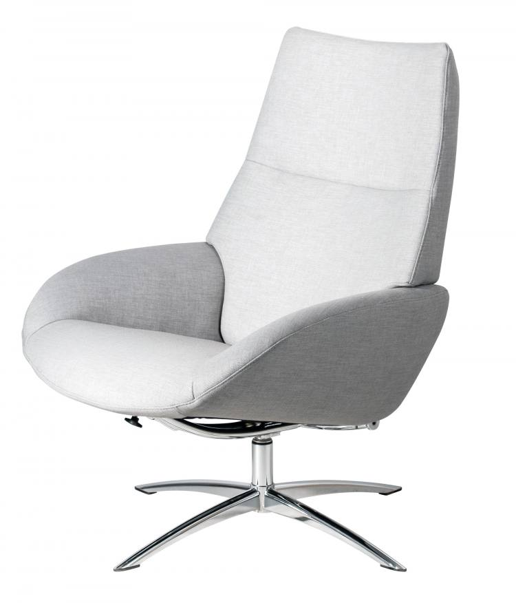 Kebe Lotus Swivel Chair in Lido Light Grey Front Side View