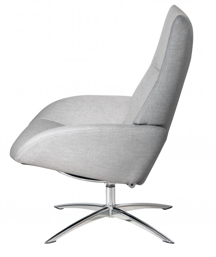 Kebe Lotus Swivel Chair in Lido Light Grey Side View