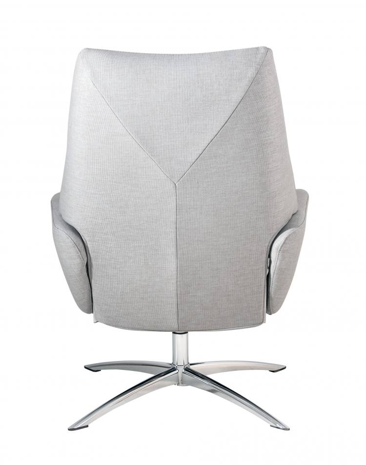 Kebe Lotus Swivel Chair in Lido Light Grey Back View
